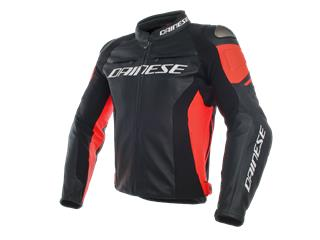 Leather Jacket Dainese Racing 3 Blk/Red Fluo Sz 46