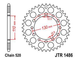 Couronne JT SPROCKETS 40 dents acier standard pas 520 type 1486 - 47048640