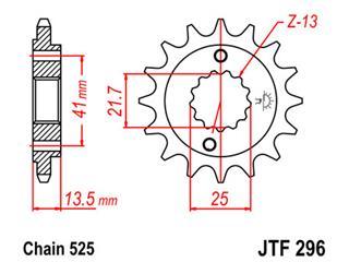 JT SPROCKETS Front Sprocket 15 Teeth Steel Standard 525 Pitch Type 296