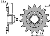 Pignon PBR 15 dents acier standard pas 525 type 2253 MV Agusta F3 675