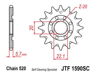 JT SPROCKETS Front Sprocket 14 Teeth Self-Cleaning Steel 520 Pitch Type 1590SC Yamaha YZ250F
