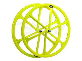 Rueda delantera fixie. 700c. Color amarillo Flúor