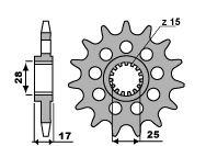 Pignon PBR 14 dents acier Racing pas 520 type 2250 Ducati 899 Panigale