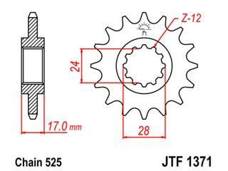 Pignon JT SPROCKETS 14 dents acier pas 525 type 1371 Honda CB600F/CB600S Hornet - 46137114