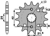PBR 16-tooth sprocket for 530 Kawasaki ZZ-R600 chain