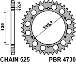 PBR Rear Sprocket 42 Teeth Steel Standard 525 Pitch Type 4730