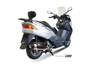 MIVV Urban Catalyzed Stainless Steel Full Exhaust System/Brushed Stainless Steel Muffler/Black ABS End Cap Suzuki Burgman 125