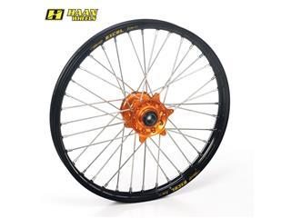 HAAN WHEELS Compleet Voorwiel 17x3,50x36T Zwart Velg/Oranje Naaf/Zwart Spaaken/Oranje Spaakennippel