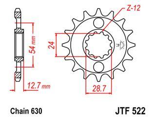Pignon JT SPROCKETS 15 dents acier pas 630 type 522 - 46052215