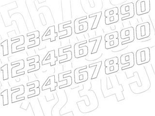 Kit numéros de course BLACKBIRD 0 à 9 200x250mm blanc - 7850491