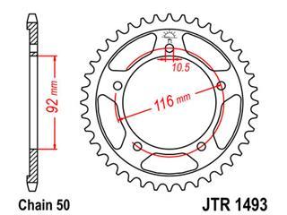 JT SPROCKETS Rear Sprocket 42 Teeth Steel Standard 520 Pitch Type 1493