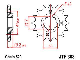 JT SPROCKETS Front Sprocket 15 Teeth Steel 520 Pitch Type 308