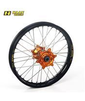 HAAN WHEELS Compleet Achterwiel 19x1,60x36T Zwarte Velg/Oranje Naaf/Zilveren Spaken/Zilveren Spaaknippels