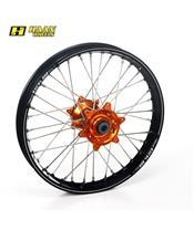 HAAN WHEELS A60 Complete Rear Wheel 18x2,15x36T Black Rim/Orange Hub/Silver Spokes/Silver Spoke Nuts
