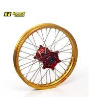 HAAN WHEELS Komplett Hinterrad 19x1,85x36T Gold Felge/Rot Nabe/Silber Speichen/Silber Speichennippel