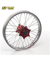HAAN WHEELS Komplett Hinterrad 19x1,85x36T Silber Felge/Rot Nabe/Silber Speichen/Silber Speichennippel