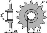Pignon PBR 15 dents acier standard pas 520 type 556 Gilera