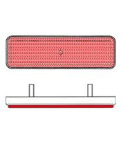 Catadioptre V PARTS rectangle 96x27mm rouge