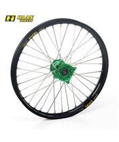 HAAN WHEELS Compleet Voorwiel 21x1,60x36T Zwarte Velg/Groene Naaf/Zilveren Spaken/Zilveren Spaaknippels