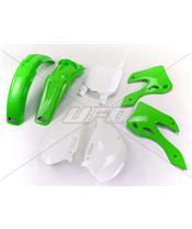 UFO Plastic Kit OEM Color Green/White Kawasaki KX125/250