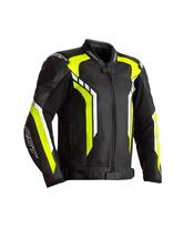 RST Axis CE jas leer zwart/neon geel