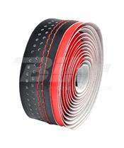 VELO Adhesive tape 2-TONE MICROFIBER red/black,W/STITCHING
