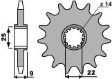 Pignon PBR 15 dents acier standard pas 520 type 2097