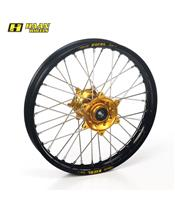 HAAN WHEELS Complete Rear Wheel 18x2,15x36T Black Rim/Gold Hub/Silver Spokes/Silver Spoke Nuts