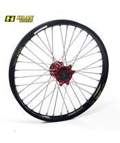 HAAN WHEELS Complete Front Wheel 21x1,60x36T Black Rim/Red Hub/Silver Spokes/Silver Spoke Nuts
