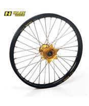 HAAN WHEELS Compleet Voorwiel 16,50x3,50x36T Zwarte Velg/Gouden Naaf/Zilveren Spaken/Zilveren Spaaknippels