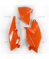 Plaques latérales + cache boîte à air UFO orange KTM SX85