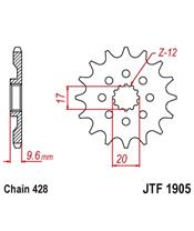 Piñon JT 428 de acero con 13 dientes KTM SX85