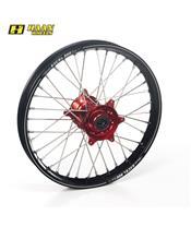 HAAN WHEELS A60 Complete Rear Wheel 18x2,15x36T Black Rim/Red Hub/Silver Spokes/Silver Spoke Nuts