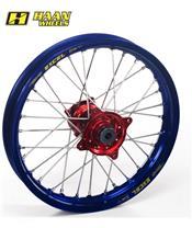HAAN WHEELS Komplett Hinterrad 19x1,85x36T Blau Felge/Rot Nabe/Silber Speichen/Silber Speichennippel