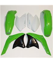 UFO Plastic Kit OEM Color Green/White Kawasaki KX250F