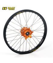 HAAN WHEELS Compleet Voorwiel 17x3,50x36T Zwarte Velg/Oranje Naaf/Zilveren Spaken/Zilveren Spaaknippels