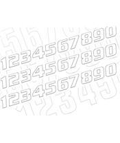 Kit numéros de course BLACKBIRD 0 à 9 200x250mm blanc